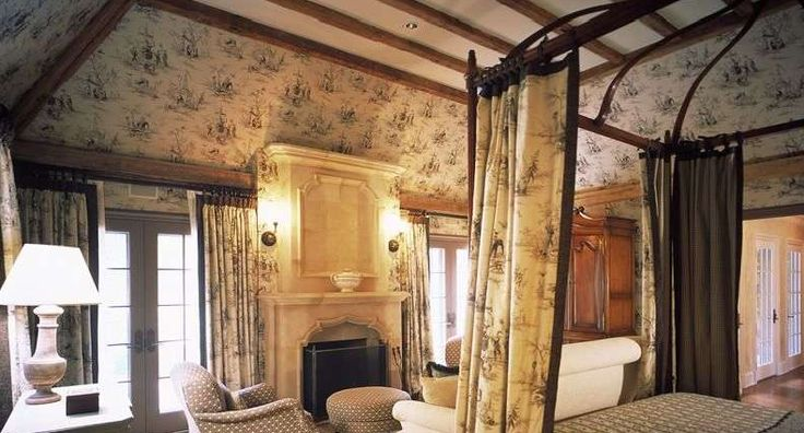 Brown Toile Bedroom Ideas: Brown & White Toile Bedroom With Vaulted Ceiling & Beams