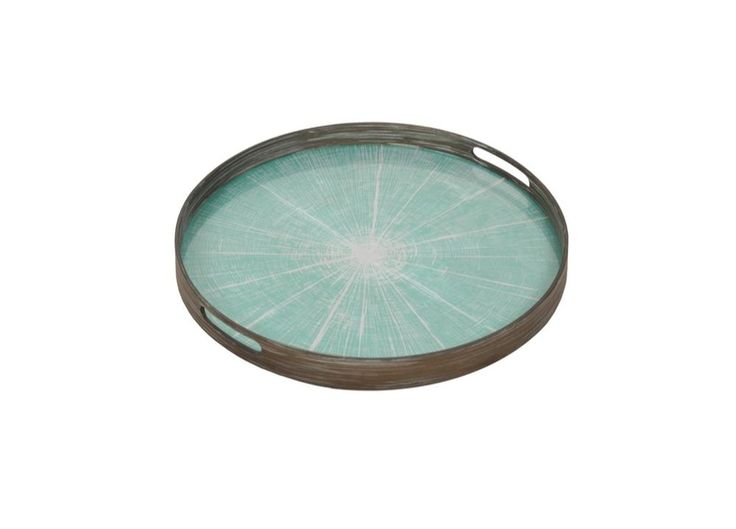 Driftwood Slice Round Tray Glass
