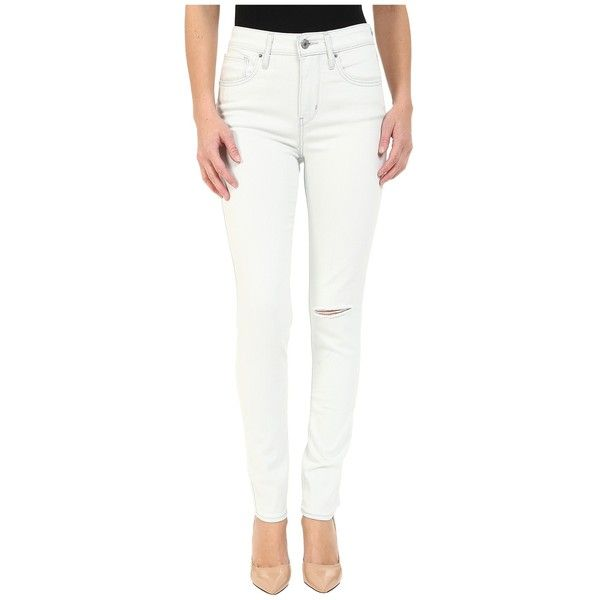Levi's Womens 721 High Rise Skinny Women's Jeans ($60) ❤ liked on Polyvore featuring jeans, stretchy skinny jeans, white distressed skinny jeans, high waisted ripped skinny jeans, stretch skinny jeans and white ripped jeans