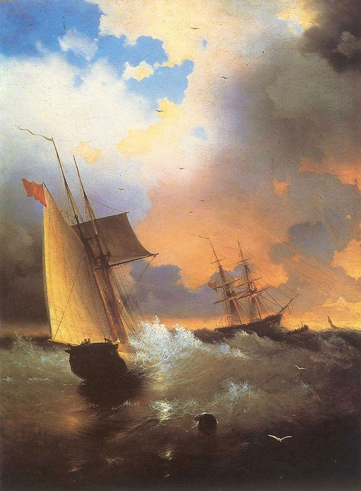 Ivan Konstantinovich Aivazovsky. A Look At the Sea, Original Size: 58,5 x 72,5 cm, Date: 1846, Location: St. Petersburg, Dzerzhinsky Academy. Buy this painting as premium quality canvas art print from Modarty Art Gallery. #art, #canvas, #design, #painting, #print, #poster, #decoration
