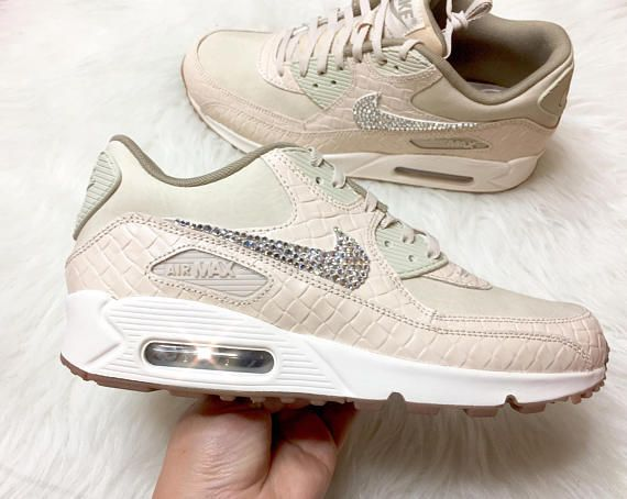 2fc8dbaba916 Bling Swarovski Crystals Women s Nude Air Max 90 bling nike shoes ...
