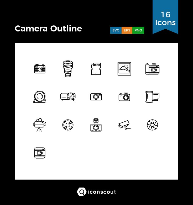 Camera Outline  Icon Pack - 16 Line Icons