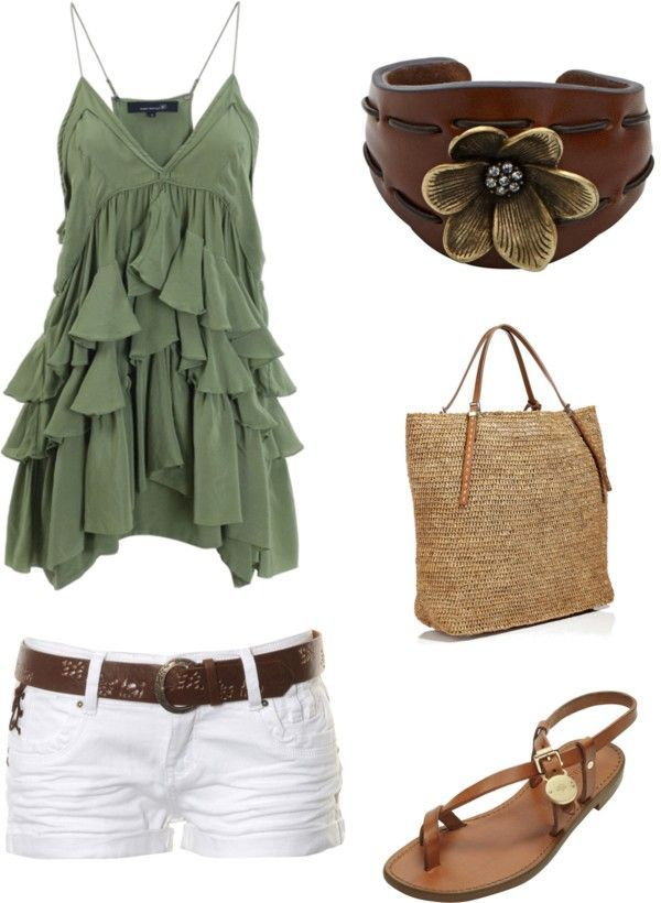 Cute summer outfit : Green Ruffle Tank top, White shorts with brown belt.  Tan Purse & Sandals. - minus the purse