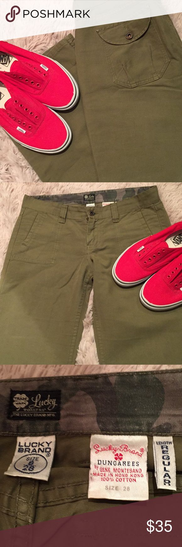 "NWOT! LUCKY BRAND - Cargo Pants in Olive Green These have never been worn.  Great color and in perfect condition!  Bundle and save! 32"" inseam Lucky Brand Pants"