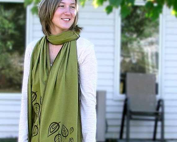 Leaf Green cotton scarf Jersey knit Scarf Retro by sweetharvey