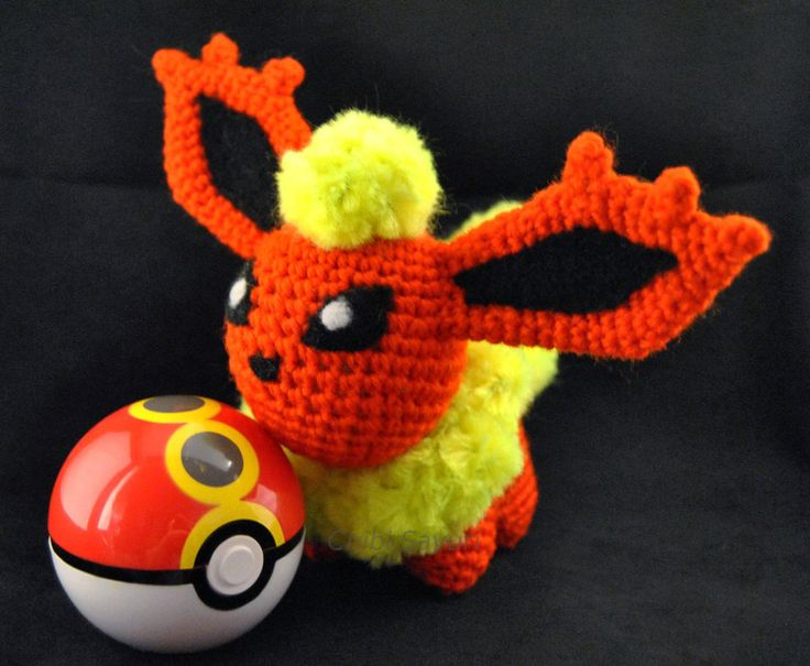 Flareon Version 2 - Features needle felted. I do not take commissions/requests, but items up for sale can be found on my website: www.chibisayuri.com Strictly Fan Art.