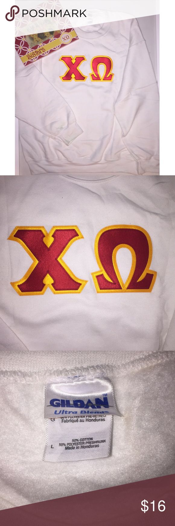 Chi Omega sorority sweatshirt ΧΩ letters embroidered in sorority colors. Super soft and only worn a couple of times so no flaws! 50% cotton, 50% polyester material. Gildan Tops Sweatshirts & Hoodies