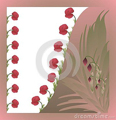 Colorful card with poppy flowers and leafs