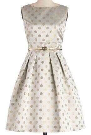 Glittery gold polka dot dress...GET IN MY CLOSET