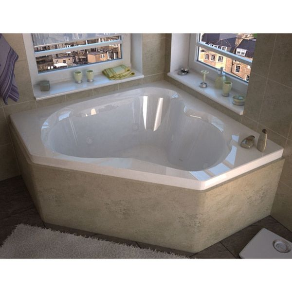 Atlantis Whirlpools Cascade 60 x 60 Corner Air & Whirlpool Jetted Bathtub in White | Overstock.com Shopping - The Best Deals on Jetted Tubs