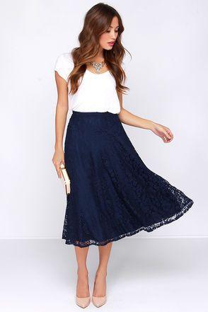 Pretty Navy Blue Skirt - Midi Skirt - Lace Skirt - High Waisted Skirt - $35.00 #skirtoutfits