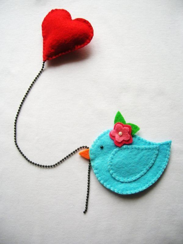 felt hand sewed blue bird with heart, how sweet