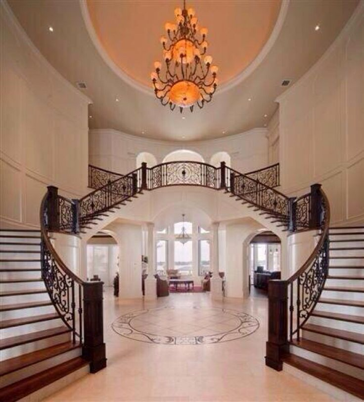 The double stair case the beautiful double stair case 1273 best Interior design images on Pinterest   Architecture  . Luxurious Home Designs. Home Design Ideas