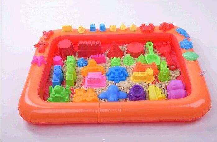 Gonfiabile Sabbia Vassoio Castello Stampo di Sabbia Tavolo Multi-funzione Mobile di Plastica Bambini Bambini Giochi Al Coperto Sabbia Argilla Fango Colore giocattoli