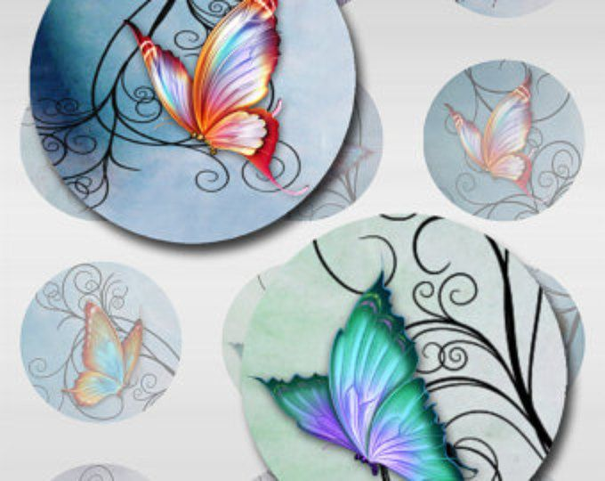 Butterflies Swirls Pastel Watercolor Paper Digital Instant Download 1 and 2 Inch and 30mm Sheet Round Images (S-17)