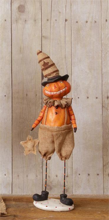 "New Primitive Halloween Pumpkin Jack O Lantern Man Vintage Style 16"" Figurine"