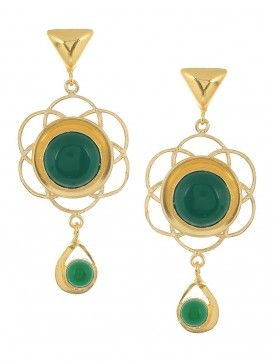 Green Onyx Gold-plated Brass Earrings