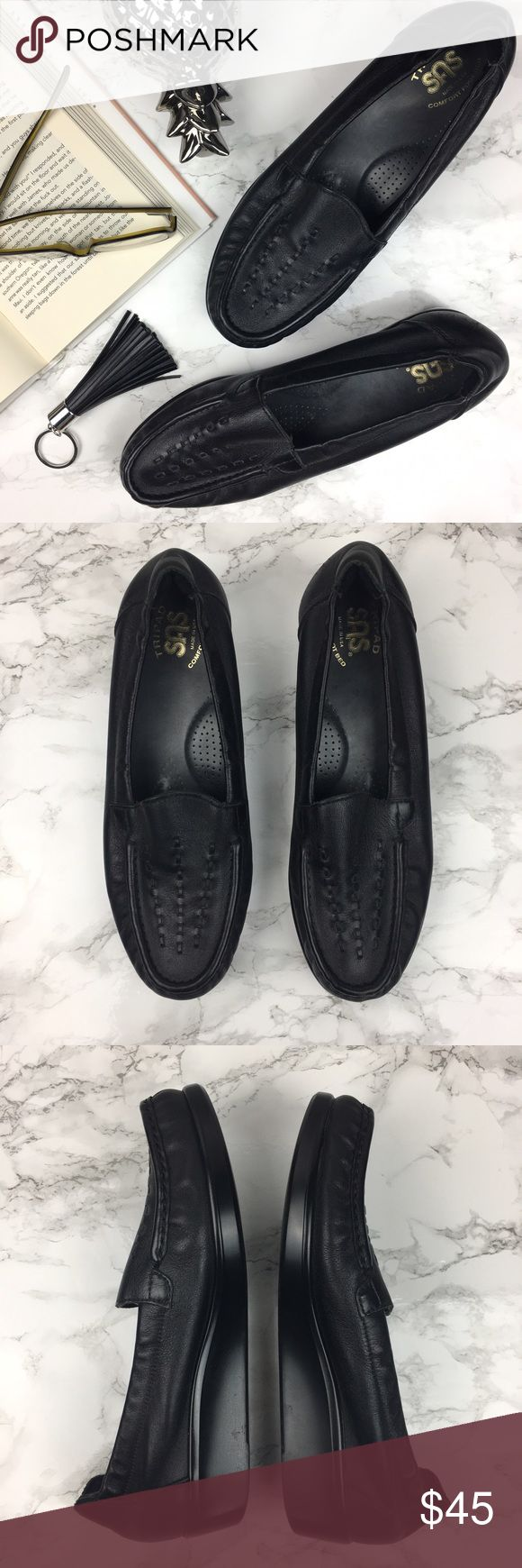 SAS Tripad Comfort Black Pebbled Leather Loafers Super comfortable shoes. Weave detail on front. On the back heel of left shoe it has a few light scratches, as pictured. SAS Shoes Flats & Loafers