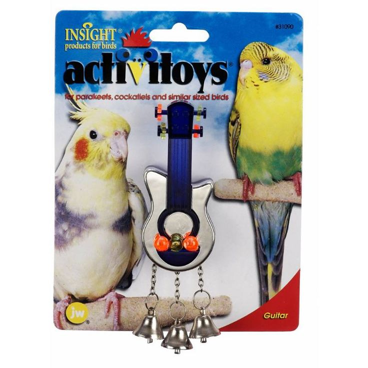 JW Pet Insight Activitoy Guitar Bird Toy will bring out the rebel rocker in all little birds. This interactive toy features tiny plastic beads that spin around the head of guitar for lots of in-tune fun.