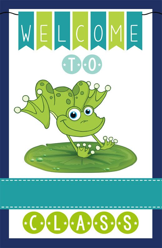 FROG theme classroom decor - Teacher Welcome Sign - magnet by ArtrageousFun on Etsy