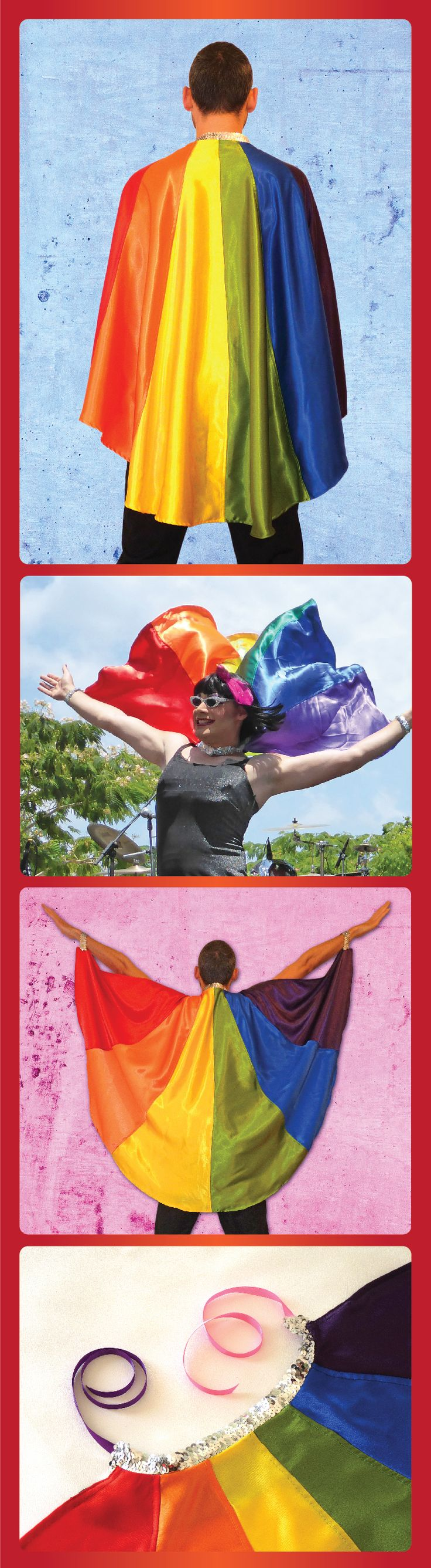 A fabulous colorful pride clothing, gay cape. Rainbow flag pride cape, colorful.  Accessorize with this gay clothing for Pride parades, wear it at parties, wear it at home, demonstrations or other gay events.  LGBT clothing accessories, drag clothing. It is the perfect LGBT Pride outfit for all genders and everything in between! These bright shiny colors will make everyone follow your rainbow. Made from crepe marocain fabric, silver elastic sequin band, satin ribbons to tie around the neck.