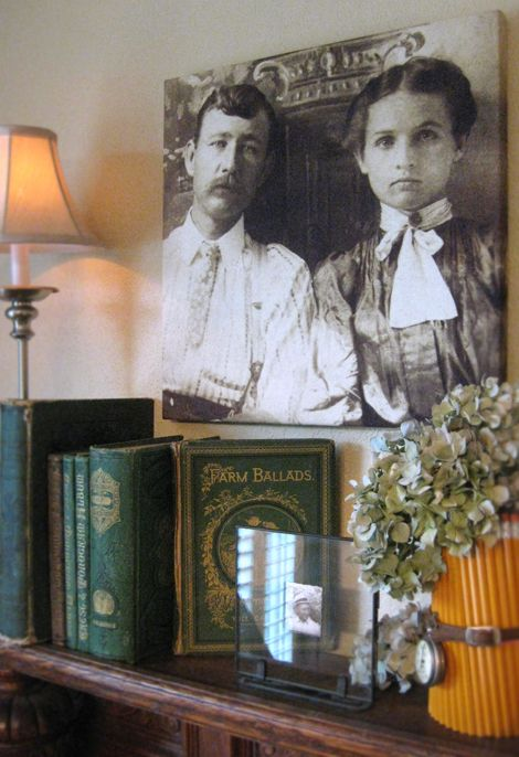 Heritage Photos on Canvas ~ I would love to display my old family photos like this!