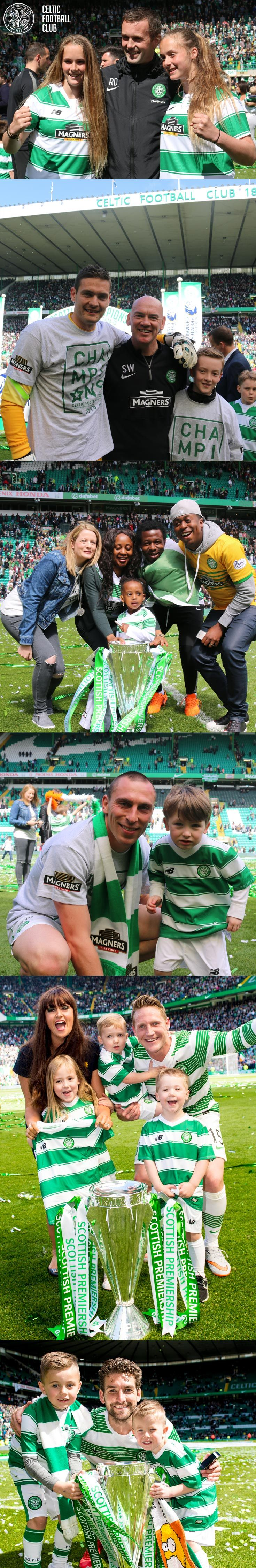 Celtic celebrate the SPFL Scottish Premiership win with their families on the  Celtic Park pitch.