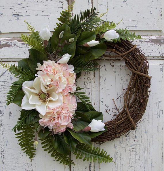 magnolia wreath hydrangea wreath southern wreath year round wreath spring wreath summer wreath front door wreath everyday decor - Wreath Storage Box