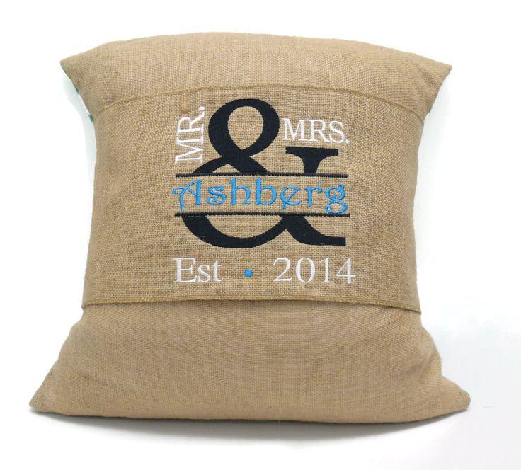 mr u0026 mrs custom burlap pillow wraps are great wedding or anniversary gift