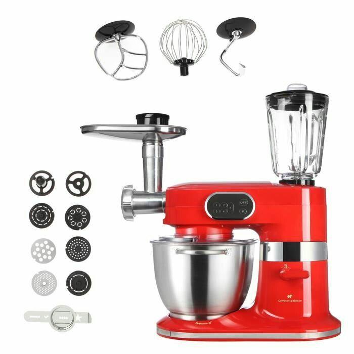 CERB100WR Continental Edison - Robot professionnel 1000 W rouge + accessoires 99,00€ -prix initial 149,90€-