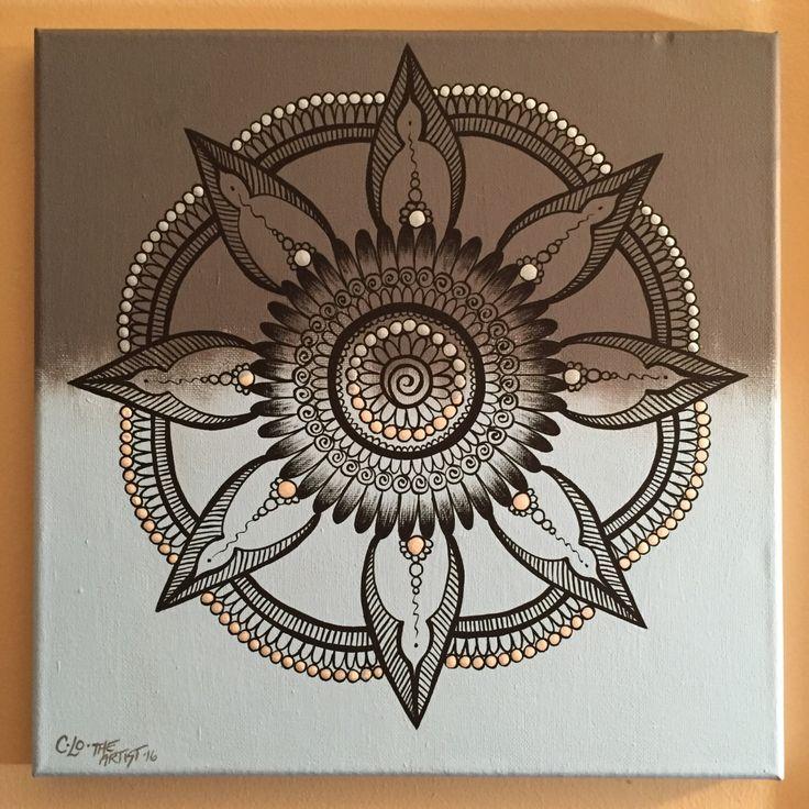 Henna Mandala/light blue and grey/hand painted/black/henna/mandala/canvas art by CLoTheArtist on Etsy