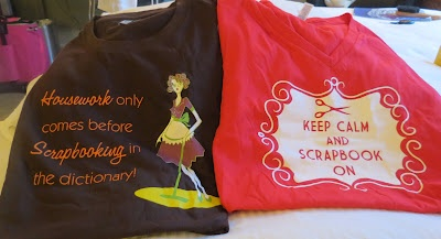I love getting bags and t-shirts that have crafty sayings on them. My favs came from the CKC Bookstore. And I will be wearing these at an upcoming crop. I really believe that housework quote (LOL) and I had had had to join the keep calm movement!    C'est La-Vie Designs Unltd., LLC