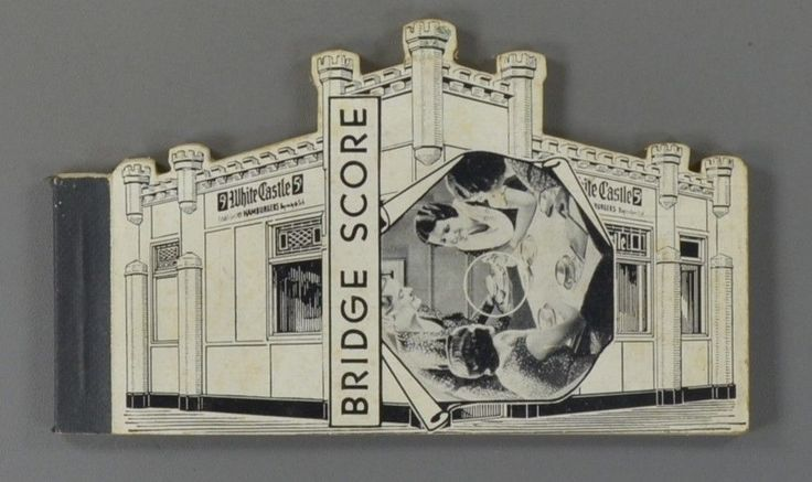 1930s WHITE CASTLE RESTAURANT Bridge Card Game Score Pad #WhiteCastle