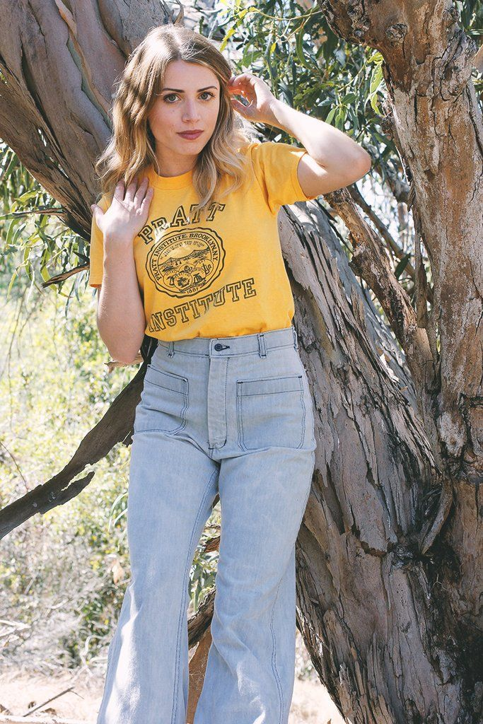 Vintage 70s Pratt Institute Brooklyn NY Tee We love the feel and fit of this vintage Brooklyn NY Pratt Institute School tee . Super soft Golden Yellow Graphic Tee. Size Small Vibe: Be true to your wor                                                                                                                                                                                 More