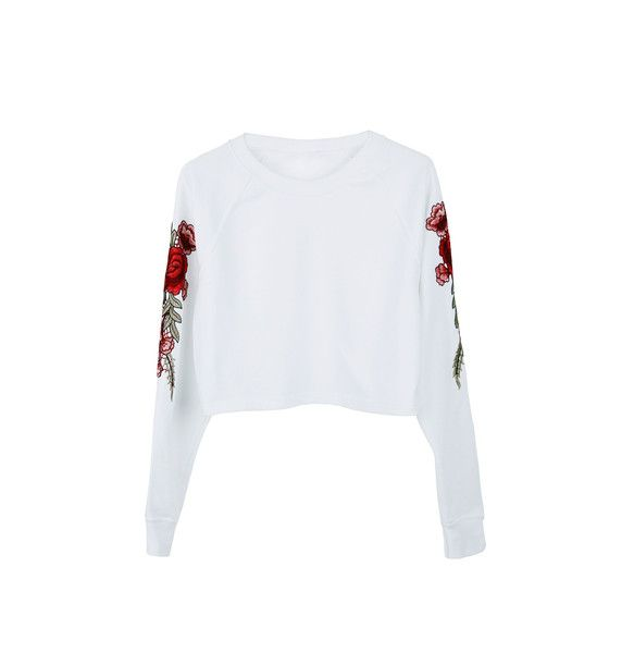 Jumpers & Sweatshirts – Cropped sweatshirt with roses patches on sleeves – a unique product by MoodyMood on DaWanda