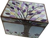 Wedding Guest Book  Box Alternative Purple Tree Box  Large Handcrafted Box Holds 4x6 MADE To ORDER