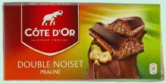 COTE D'OR tablette lait Double Noisettes 2 x 200gr