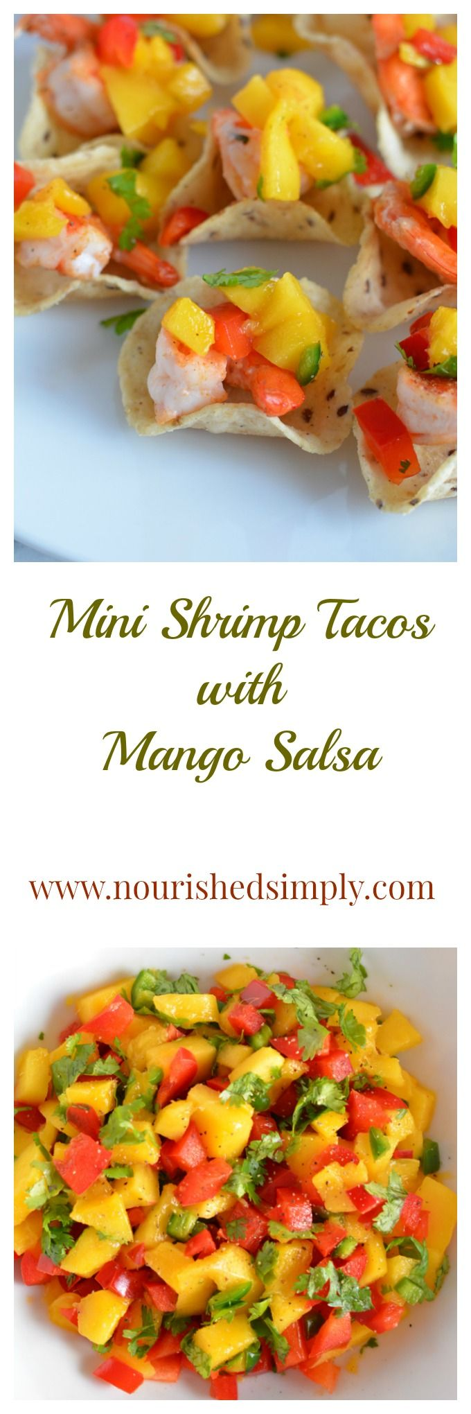 Mini Shrimp Tacos with Mango Salsa is a perfect summer snack to enjoy as a snack or party appetizer.