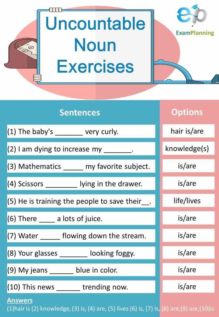 Uncountable Noun Exercises Nouns Exercises Uncountable Nouns Nouns
