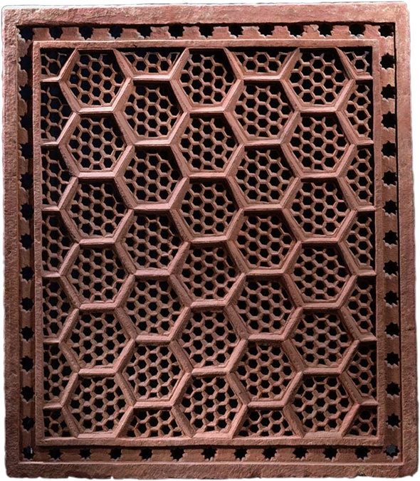 Wall Jali Design : Hexagonal jali screen india mughal th century