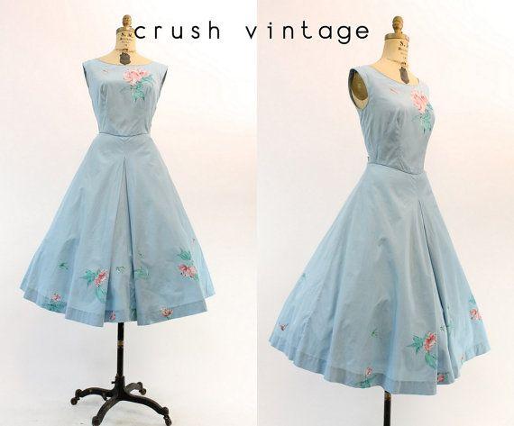 50er Jahre Kleid handgemalt klein  Medium / 1950er von CrushVintage