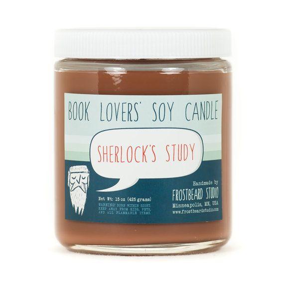Bougie des amoureux du livre de Sherlock étude - bougie de soja - de soja parfumée - pot de 8oz
