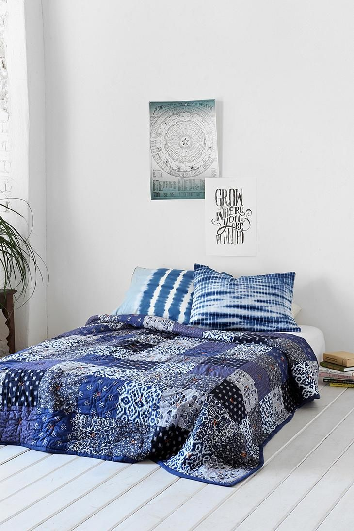 Noodle Indigo Patchwork Quilt #urbanoutfitters