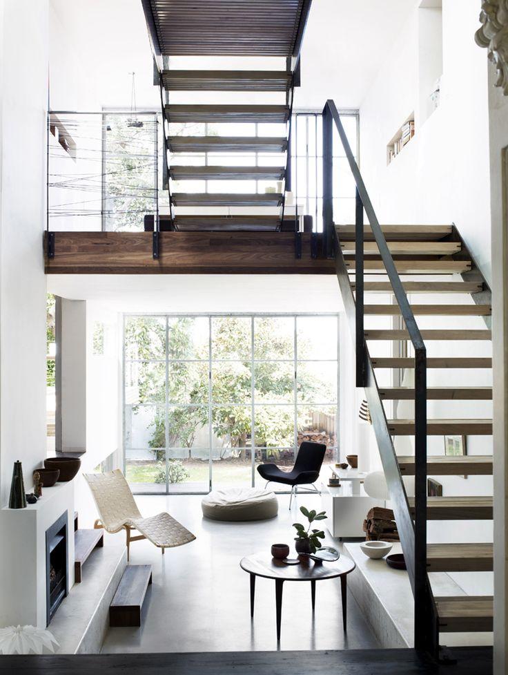 very nice stairs, metal and wood