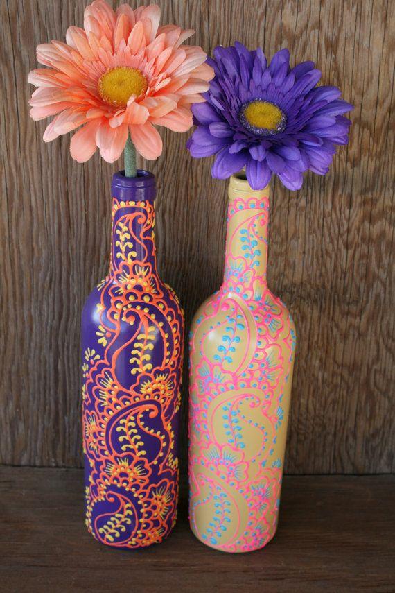 Henna Style Decorative Wine bottle Vase, Sunshine Yellow, Bright Pink, and Sky Blue. $25.00, via Etsy.
