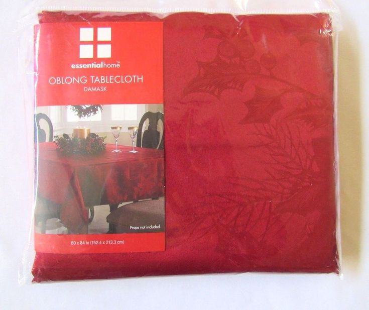 Red Damask Oblong Tablecloth Holly Berry Essential Home 60 X 84 inch Polyester  #EssentialHome