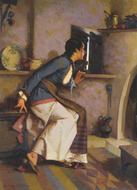 Γεραλής Απόστολος-Eavesdropping. His work belongs to the sphere of academism influenced by both the Munich and the French Schools.