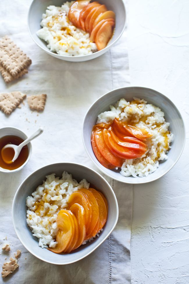 Peaches air Puddings   Citrus      Eats Riz Sweet Rice   Honey Peaches   Au max Honey With Chilled   retro and Poached Lait