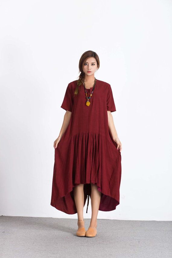 Women's linen maxi dress asymmetry linen kaftan oversize bridesmaid dress large size dress plus size clothing custom_made clothing A58