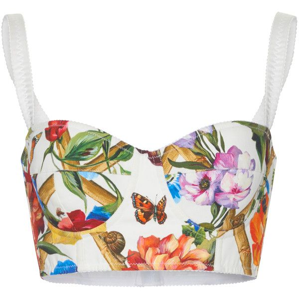 Dolce & Gabbana Floral-Print Cropped Bustier Top (2.600 BRL) ❤ liked on Polyvore featuring tops, floral, bustier tops, cut-out crop tops, white bustier top, cropped bustiers and floral bustier top